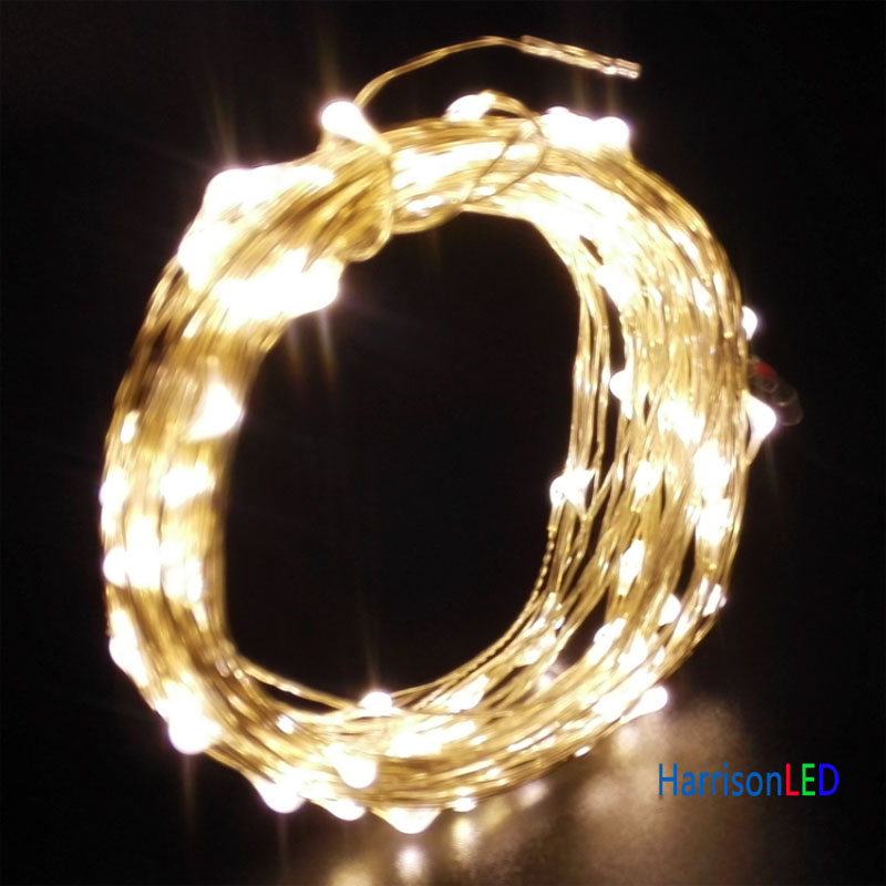 10M/100 LED Warm white copper silver wire mini invisible string ...
