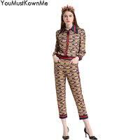 YouMustKnowMe взлетно посадочной полосы комплект из 2 предметов женские длинные рукава с винтажным принтом рубашки и пят Штаны комплекты модный а