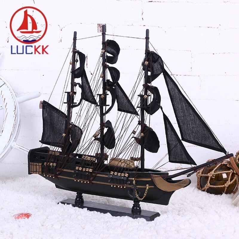Image 2 - LUCKK DIY 50 см черная Пиратская деревянная парусная лодка модель корабля домашние поделки для декорирования интерьера море стиль игрушки парусная модель классика-in Статуэтки и миниатюры from Дом и животные