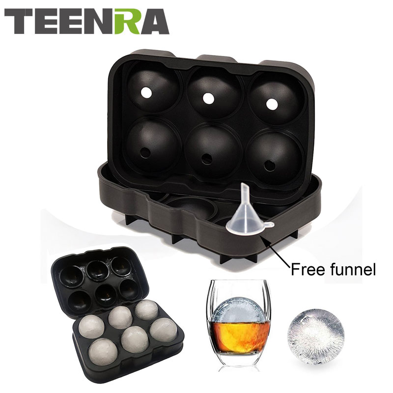 1 STKS Grote Maat 6 Mobiele Ice Ball Mold Siliconen Ijsblokje Bal Lade Whiskey Ice Ball Maker 6 Siliconen Mallen Maker Voor Party Bar