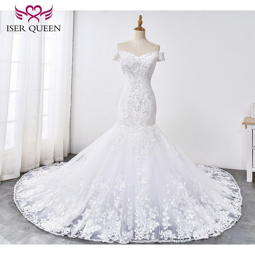 Lustré dentelle avec Appliques mancherons sirène robe de mariée 2019 à lacets broderie sur Train robes de mariée sirène WX0033