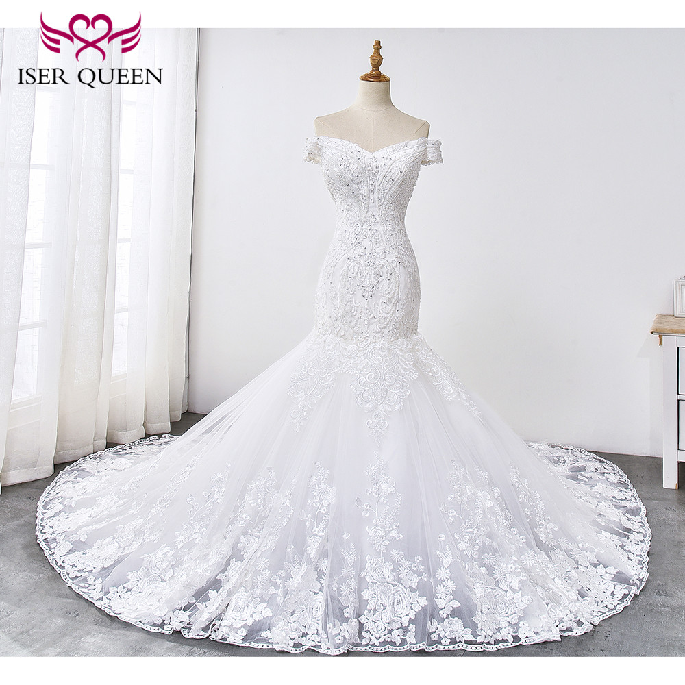 Lustrous Lace With Appliques Cap Sleeves Mermaid Wedding Dress 2019 Lace Up Embroidery On Train Bride Dresses Mermaid  WX0033