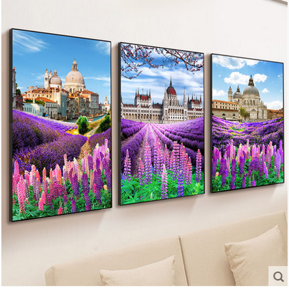 DIY handwork  printed Sets For 5D Diamond Embroidery kits Cross Stitching Wall Home Decro Lavender Castle