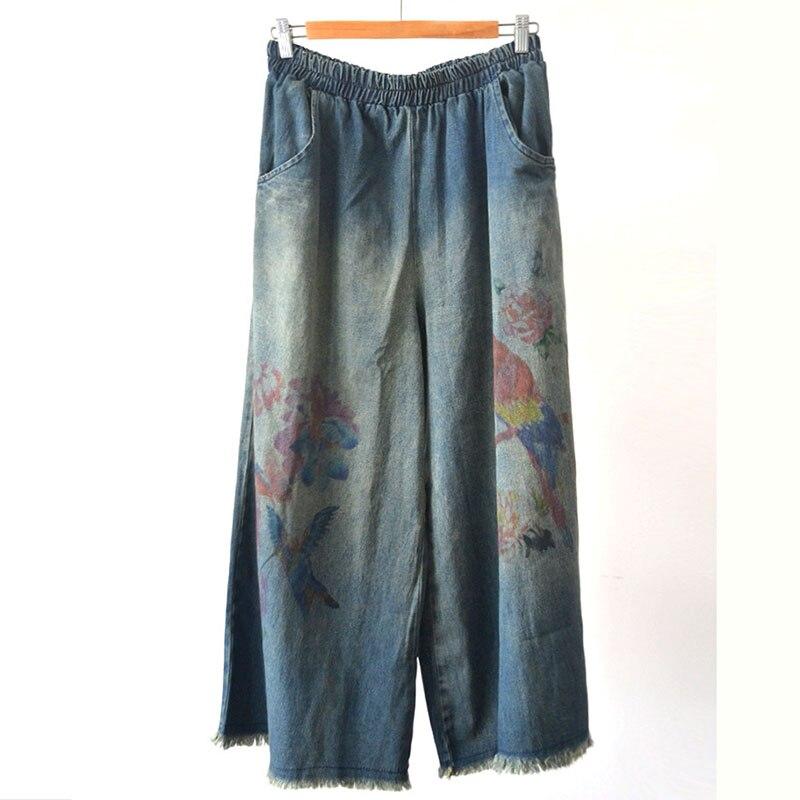 Women Casual Loose Wide Leg Elastic Waist Denim Pants Jeans Printed Bird Flower Vintage Retro Denim Trousers Elastic Waist
