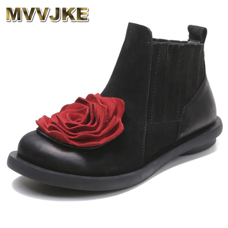 MVVJKE 2018 Big Red Flower Women Boots Cow Suede Round Toes Ankle Boots Flat Heels Handmade