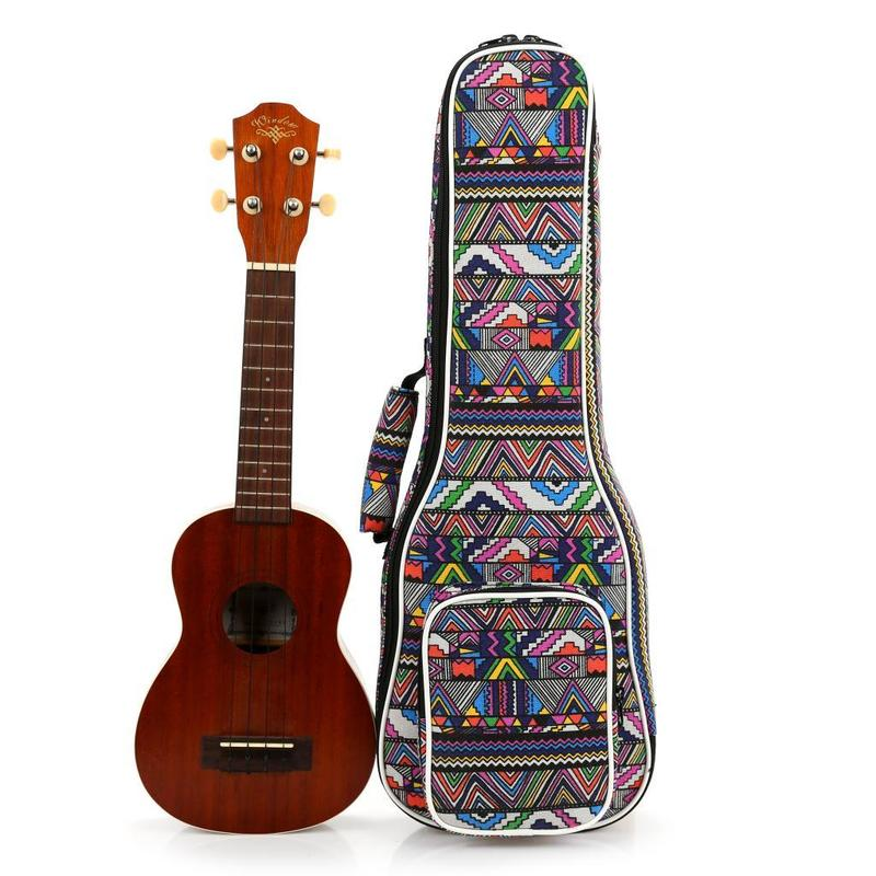 Ukulele Bag Case Electric 21 23 26 Inches Soprano Concert Tenor Backpack Shoulder Carry Gig Ethnic Splice Colorful Accessories