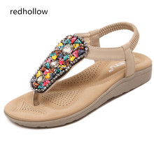Summer 2019 New Bohemian Women Sandals Crystal Flat Heel Gladiator Sandalias Women Shoes Flip Flops Zapatos Mujer Shoes 2017 summer flat sandals ladies bohemia beach flip flops gladiator women shoes sandles platform zapatos mujer sandalias 5868w
