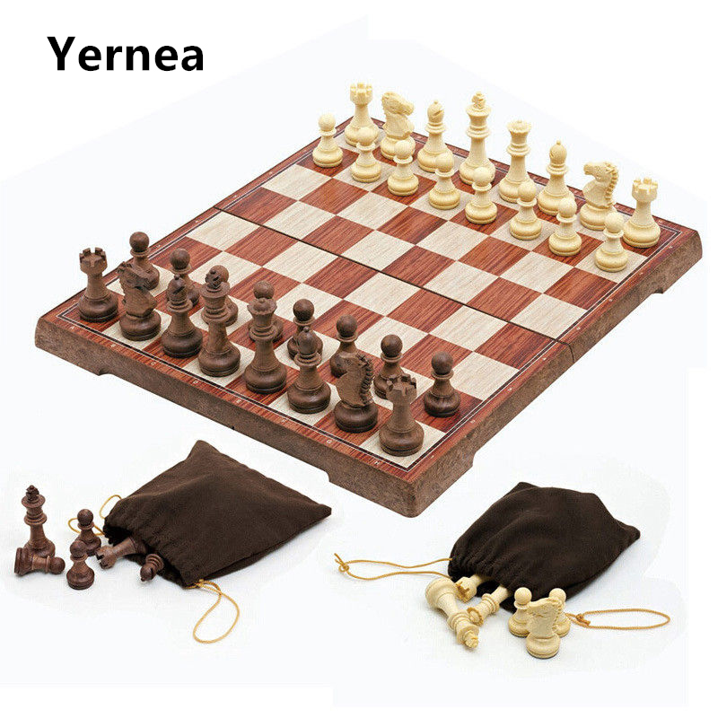 High-grade chess Wooden WPC Chess Folded Board International magnetic Chess Set Exquisite Chess Puzzle Games Board Game Yernea magnetic international chess pieces set folding table games board 36x31cm king 7 2cm funny family game 2017 ajedrez size xl