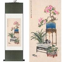 Çin Ipek suluboya mürekkep natürmort açelya orkide bonsai çiçek düzenleme sanat tuval duvar resmi şam çerçeveli kaydırma boyama
