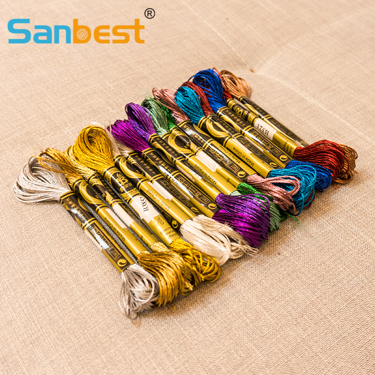 Sanbest Metallic Shiny Effect Cross Stitch Thread Embroidery Threads Crafts Floss Sewing Threads