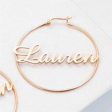 Lateefah pendientes minimalistas con nombre personalizado, joyería de acero inoxidable, pendientes con pasador en forma de letra, 2019