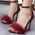 Elegantes Mulheres Sexy de Salto Alto Bombas de Sapatos Da Marca 2017 Mais Novo da mulher Sandálias Salto Alto Sapatos de Casamento Vermelho Sapatos 11 cm Tamanho 35-40 preto