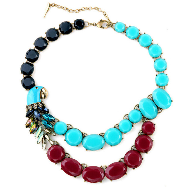 7ba5e2edd Luxury Brand Vintage Drops Of Glaze Parrot Choker Exaggerated Gems  Statement Pendant Necklace Fashion Crystal Jewelry