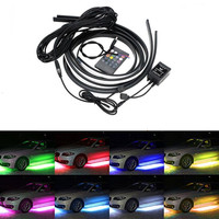 Car RGB LED Strip Under Car Tube Underglow Underbody Neon Light System Kit Decorative Lamp Wireless