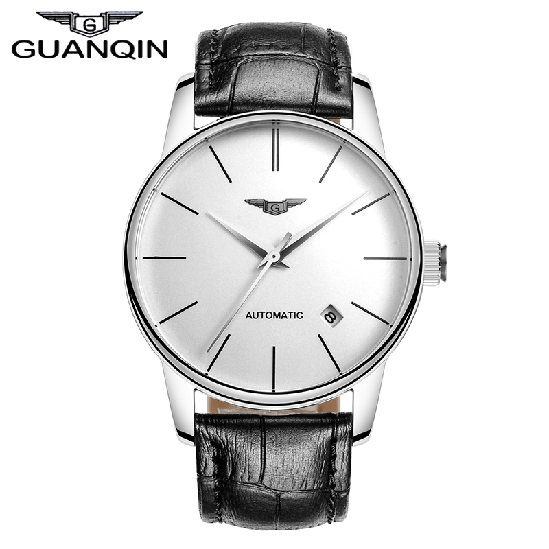 Quality GUANQIN Watches Men Top Luxury Brand Automatic Mechanical Watch Hardlex Waterproof Watches Leather Male Wristwatches réveil à sonnette