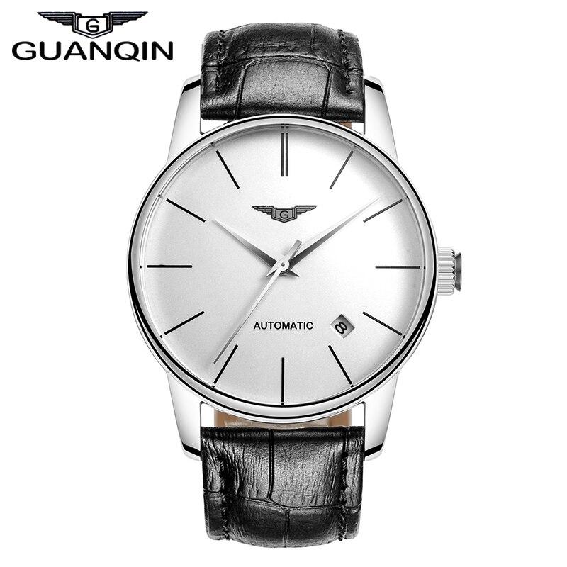 Qualité GUANQIN montres hommes Top marque de luxe automatique montre mécanique saphir étanche montres en cuir hommes montres