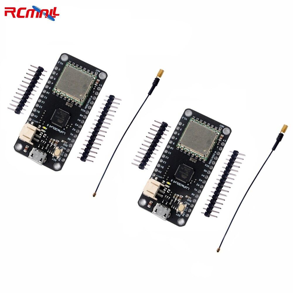 RCmall 2 set/lote LoRa32u4 II Lora Placa de desarrollo para LiPo Atmega328 SX1276 HPD13 868 MHz con antena FZ2863 * 2 + DIY0050 * 2