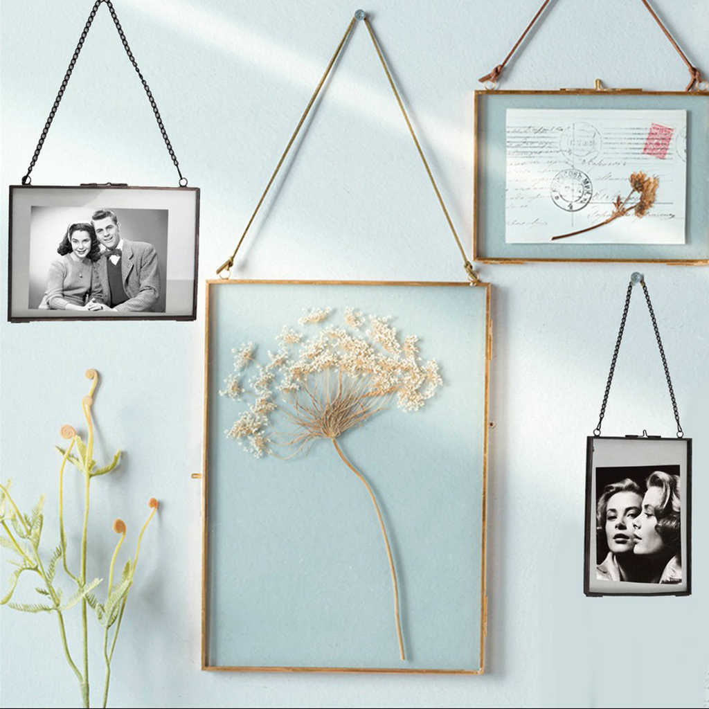 Vintage Double Sided Glass Hanging Photo Picture Frame Wall Frame Flower Plant Specimen Portrait Display Home Decor