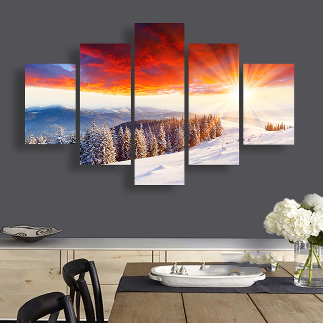 Forest Snow Canvas Wall Art Winter Sunshine Nature Scenery Paintings ...