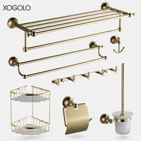 Xogolo Solid Copper Fashion Gold Color Wall Mounted Bath Hardware Sets Paper Towel Holder Bathroom Shelf