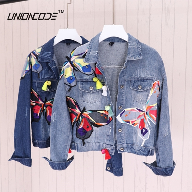 Colorful Butterfly Embroidery Ladies Jean Jackets Patch Designs ...