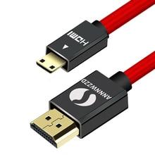 גבוהה מהירות מיני HDMI לכבל HDMI זכר לזכר 4K 3D 1080P עבור Tablet למצלמות MP4 מיני כבל HDMI 1M 2M 3M 5M