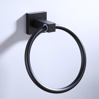 55CM Matte Black Double Towel Bars Bathroom Towel Hanger Space Aluminum Bathroom Accessories Towel Rack Towel ring  Toilet brush 10