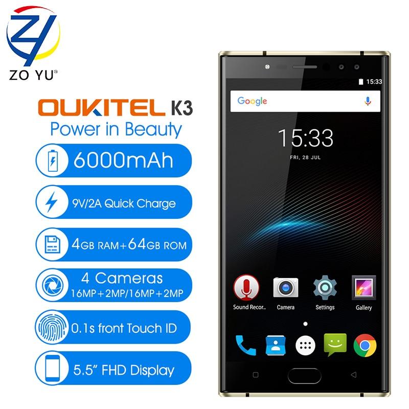 OUKITEL K3 Smartphone 4G 5 5 MTK6750T Octa Core Android 7 0 4GB RAM 64GB ROM