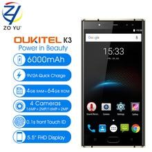 OUKITEL K3 Smartphone 4G 5.5″ MTK6750T Octa Core Android 7.0 4GB RAM 64GB ROM 16.0MP+2.0MP 4 Smart Cameras 6000mAh Mobile Phone