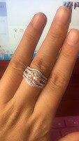 TRS009 2 карат NSCD Имитация драгоценных камней обручальные кольца для женщин, 3 шт