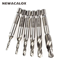 NEWACALOX 1/4'' Hex HSS High Speed Steel Thread Spiral Screw M3 M4 M5 M6 M8 M10 Metric Composite Tap Drill Bit Tap 6pcs/set