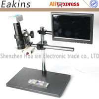 16MP HDMI USB Outputs Electron Industry Microscope Camera 180X C MOUNT Lens 8 Inch Monitor LED