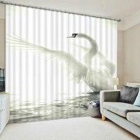 3d 만화 흰색 백조 패턴 3D 정전 커튼 침구 거실 홈 호텔 사무실 장식