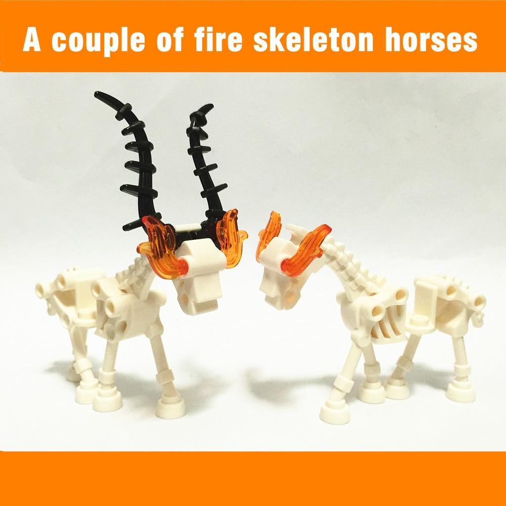 Lego New White Skeleton Mini Figure And Skeletal Horse Animal Lot