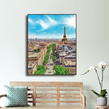 Laeacco Canvas Calligraphy Painting Paris Tower Modern City Buildings Posters and Prints Street Wall Artwork Picture Living Room