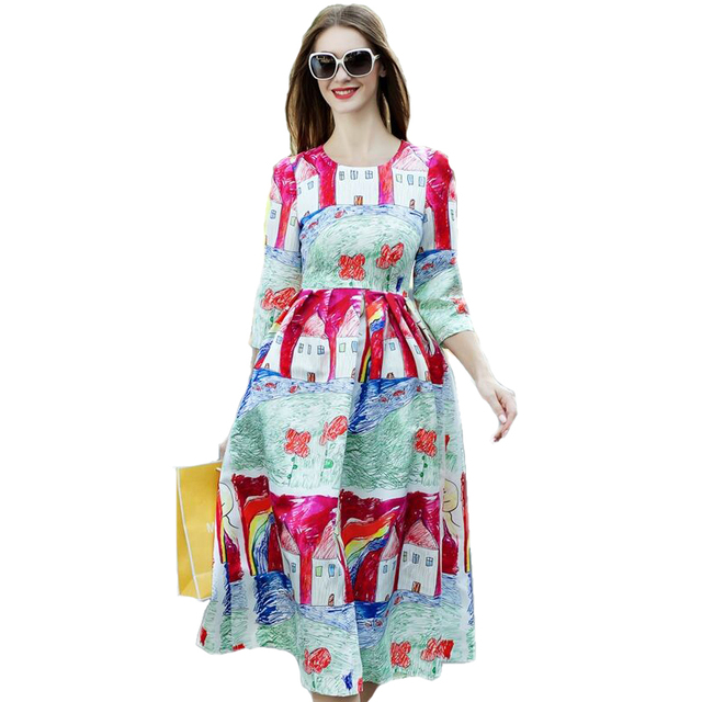 New Dresses 2017 Autumn Fashion European American Casual Dress Graffiti Vintage Countryside Print Half Sleeve