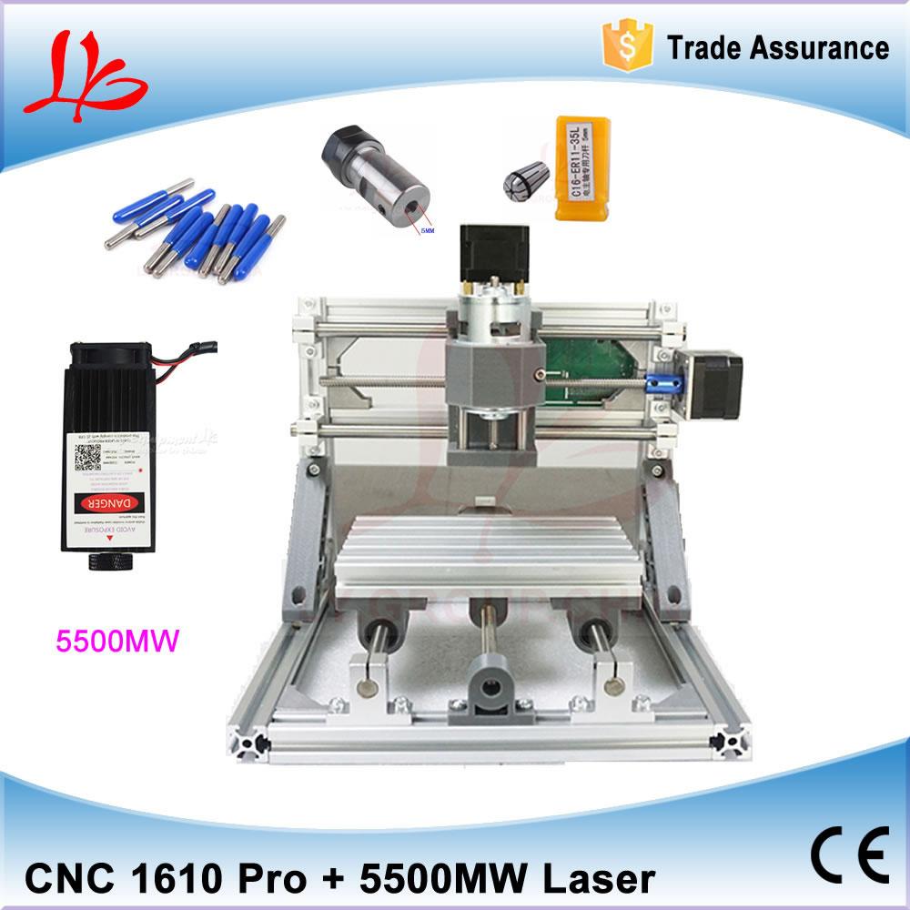 Mini CNC 1610 PRO + 500MW/2500MW/5500MW laser CNC engraving machine Pcb Milling Machine Wood Carving machine diy mini cnc