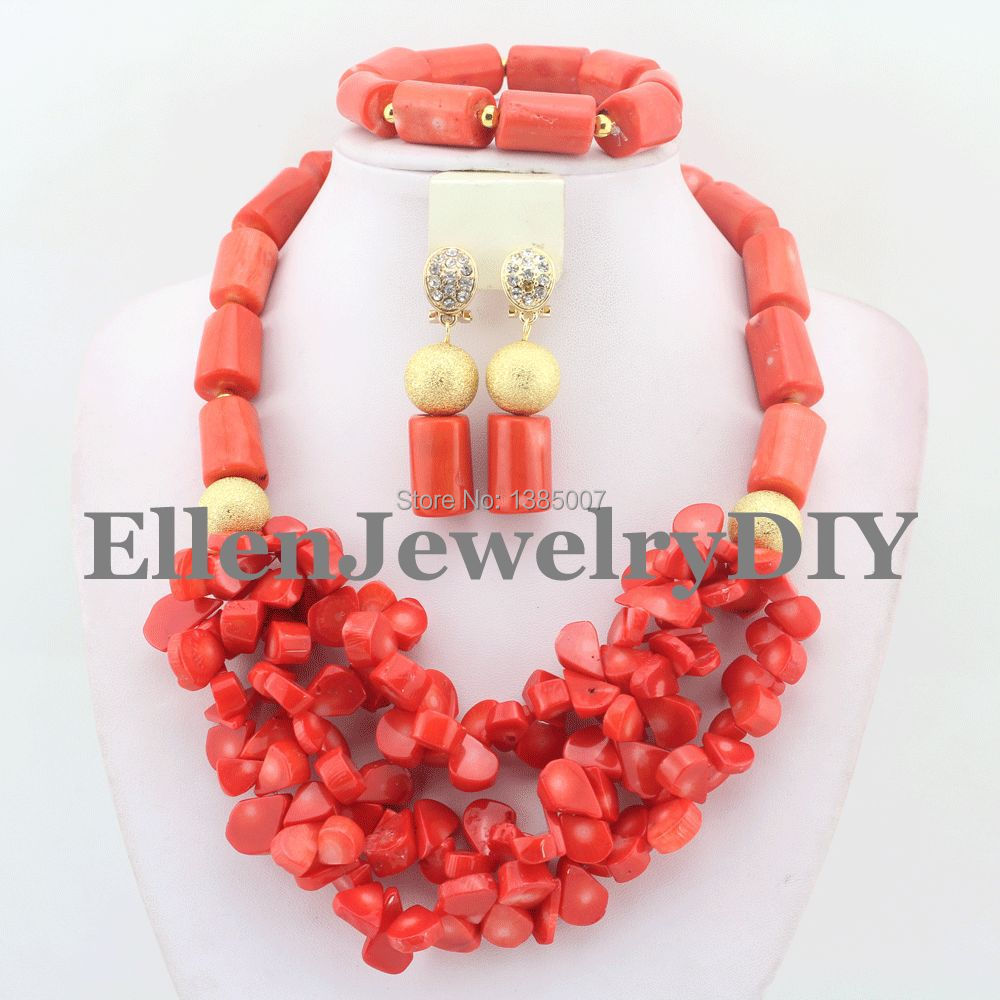 Orange African Coral Jewelry Sets Coral Beads Necklace Set Nigerian African Wedding Beads Jewelry Sets W7905 marvelous orange african coral beads jewelry set nigerian wedding african beads necklace set 2016 new free shipping cj461