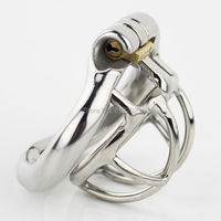 New Super Small Male Chastity Cage Stainless Steel Chastity Belt Penis Lock with 4 size Arc Base Ring Sex Toys