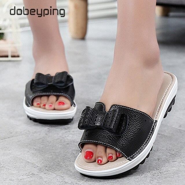 2017 New Women's Sandals Cow Leather Women Flats Shoes Platform Wedges Female Slides Beach Flip Flops Summer Shoe Lady 35-42
