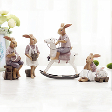 resin rabbit home decor crafts Europe childrens room decorations animal figurines wedding Resin Figurine Gift