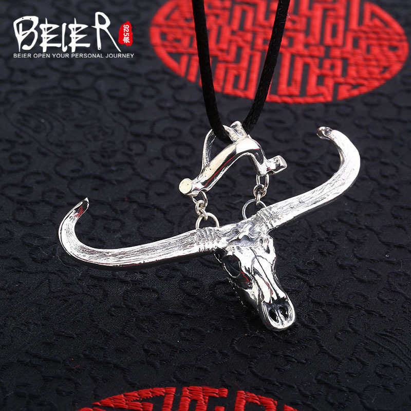 Beier new store 100 925 thai silver sterling cow pendant necklace high quality fashion jewelry free