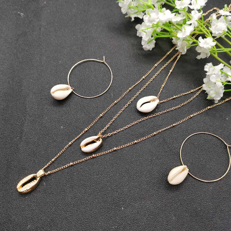 JCYMONG New Fashion Natural Shell Pendant Earrings Gold Silver Color Round Circle Hook Earrings Multilayer Necklace Jewelry Set