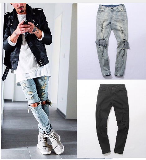ФОТО Fashion autumn stretch ripped designer brand jeans hip hop slim fit men broken demin destroy jeans blue and black swag PANTS