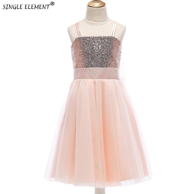 SINGLE ELEMENT 100% Real Photo Lovely Kids Bows   Flower     Girl     Dresses