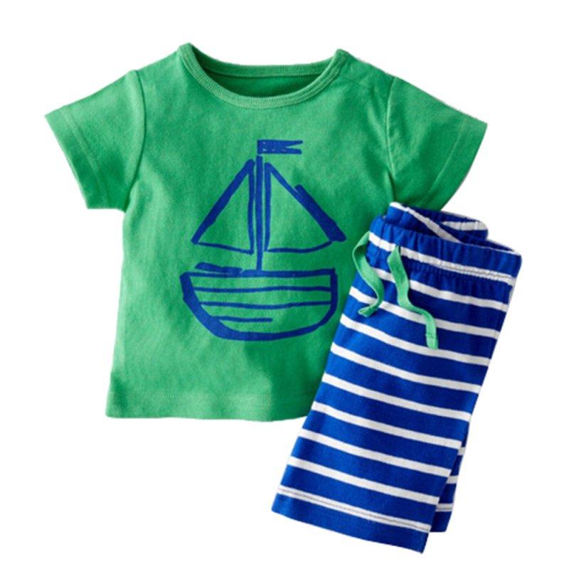 Baby Boys Summer Clothing Set Boat Anchor Fish Striped Cotton Baby Boys Clothes Set T shirt Pant 2PCS Baby Set Baby Clothing S2