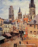 Canvas Art Reproduction Rue de l epicerie at Rouen on a Grey Morning Camille Pissarro Paintings hand painted High quality