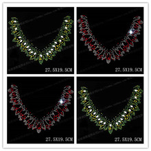 hotfix applique red green rhombus crystal rhinestones woolen sweater  clothing T-shirt round neckline prethoracic 2ac428aa8718