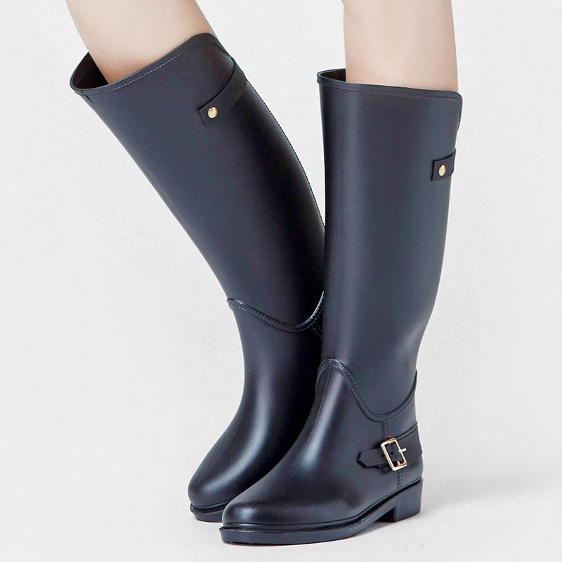 navy Knie Frauen Große Wasserdicht Full slip Schuhe Black Nicht Gummistiefel hohe Rain Wasser Zm13 Stiefel Schnalle Hohe Rouroliu Frau Blue Welle Regen fRvwqdZ5