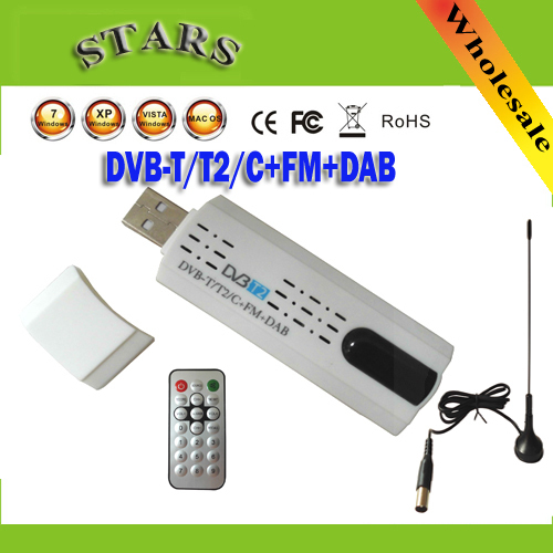 Digital satellite DVB t2 usb tv stick Tuner mit antenne Fernbedienung HD Fernsehempfänger für DVB-T2/DVB-C/FM/DAB USB TV Stick FreeShipping